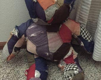Vintage patchwork quilted teddy bear