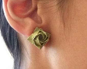 Rose Earrings -Studs Posts - Origami green Rose-Origami Jewellery-Anniversary Gift-Washi Paper