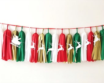 Christmas Tassel Garland Santa Reindeer Banner Red Green Gold Christmas Holiday Party Decorations Xmas Reindeer Garland Christmas Bunting