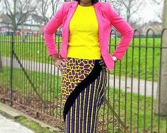 African prints velvet combo  Ankara pencil skirt, women's skirt
