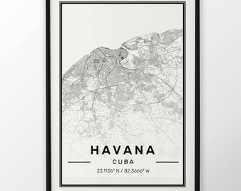 Havana City Map Print, Modern Contemporary poster in sizes 50x70 fit for Ikea frame 19.5 x 27.5 All city available London, New York Paris