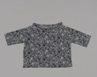 Sweatshirt or grey cotton jersey with printed butterflies blacklists and whitelists, handmade baby clothes
