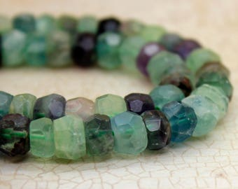Fluorite Rondelle Faceted Gemstone Beads