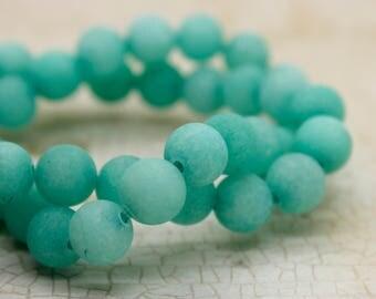 Dye Agate (Teal) Matte Round Gemstone Beads