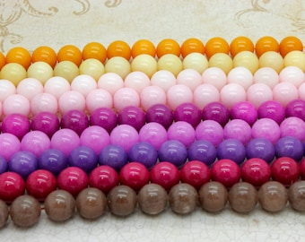 Dye Jade Smooth Round Gemstone Beads 12mm (Brown Purple Pink Orange- Full Strand)