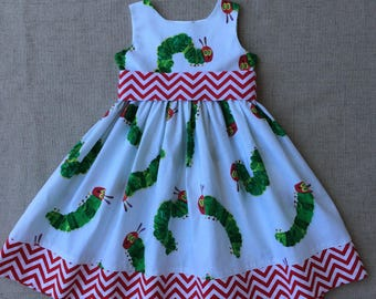 The Very Hungry Caterpillar Dress, Eric Carle Dress, Birthday Dress