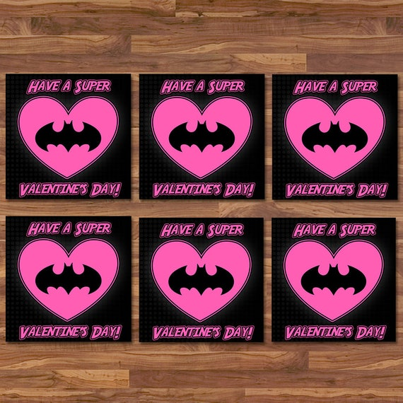 Batgirl Valentine's Day Cards - Batgirl School Valentines - Black & Pink Logo - Batman Party Printables - Superhero Valentine's Day Cards