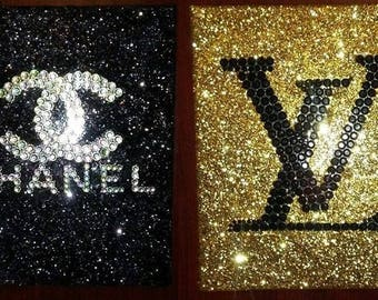 Inspired Chanel And Louis Vuitton hand laid Rhinestone Canvas Wall Art Handmade!