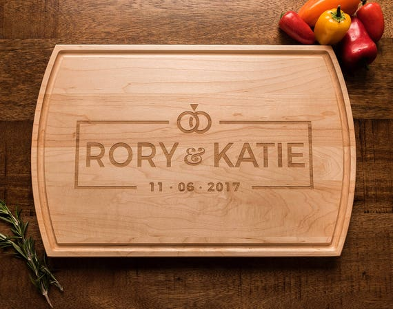 Custom Wood Cutting Board, Personalized Gift, Engraved, Wedding Ring, Monogrammed, Gift for Couple, Wedding Gift, Charcuterie, Cheese Board