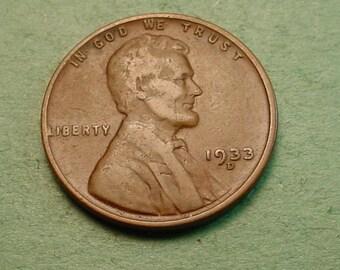 Lincoln Wheat Cent 1933-D Good<> # ET3979