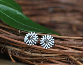 Lovely Spring Blossom Flower Stud Enamel and Crystal Stud Earrings - White