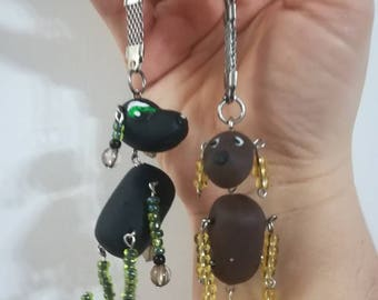 Couple keychain set, dogs, polimer clay dogs, fanny dogs, crazy dogs