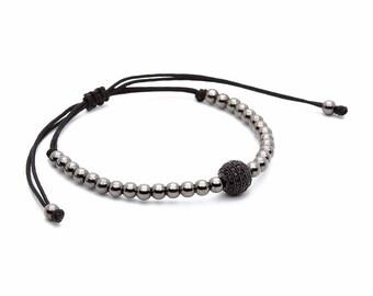 Men's Black Beaded Macrame Bracelet