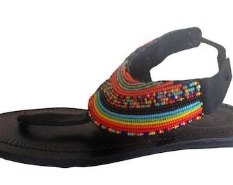 African Rainbow Sandal, Masai women sandal, African Jewelry, African sandal