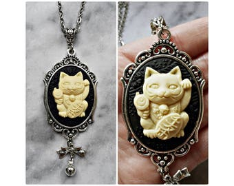necklace cameo maneki neko 3d cat lucky fortune zhaocai mao silver kawaii kitty japanese folklore talisman amulet cat lover