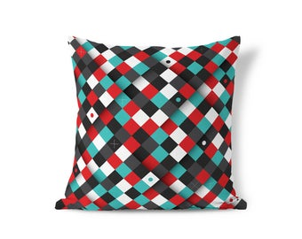Throw Pillow Cover - Geometric Pillow - Tribal Style Pillow - Blue Cushion Covers - Accent Pillow - Textured Pillows - Cushion Cover