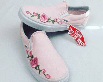 Custom vans, slip on vans, vans, vans shoes, womens sneakers, custom vans shoes, womens vans, painted vans, rose vans, custom sneakers, gift