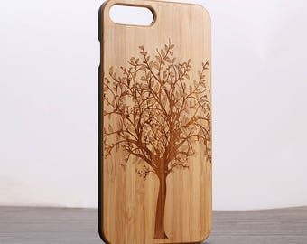 Iphone 5/6 7 case wood - wooden iphone 7 case walnut, cherry or bamboo wood - Life tree