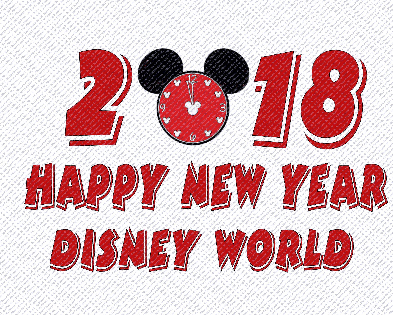 Happy New Year 2018 Mickey Mouse Head Clock Walt Disney ...