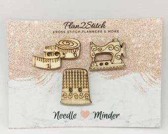 Set of 3 Wooden Needle Minders