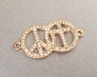 Peace Sign Connector, Rhinestone Jewelry, Cross Connector, Gold Tone, Link, GTP042, 43mm x 22mm