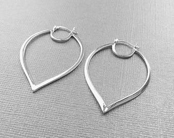 Sterling Hoops, Sterling Hoop Ear Wires, Silver Petal Earrings, Large Hoops Ear Wires, EWRS032, 32mm x 46mm
