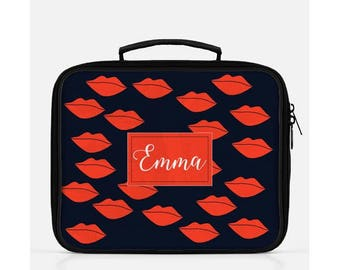 Red Lips Lunch Box, Personalized Lunch Bag, Blue Lunch Box, Kisses Lunch Box, Cute Lunch Box, Smooches Lunch Box, Lips Print, Red Lunch Box