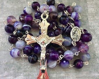 purple rosary etsy