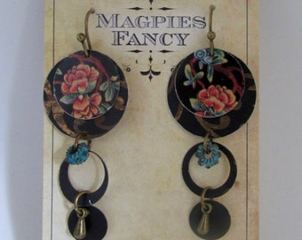 Handmade Upcycled Tin Floral Earrings Layered Circles Dangle Drop Earrings
