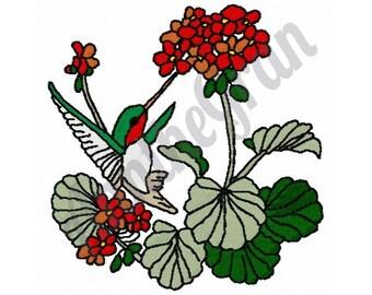 Hummingbird - Machine Embroidery Design, Flowers Embroidery Design