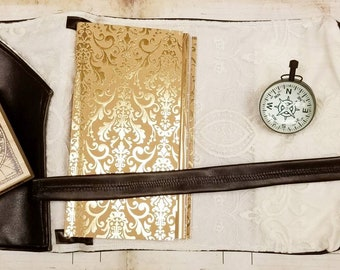 Chocolate and Lace TN by Empress Animal - Vegan Traveler's Notebook - Victorian Journal - Steampunk Planner - Faux Leather Dori - Fabric TN
