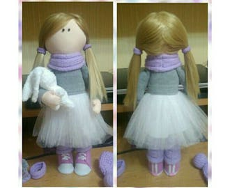 Interior textile handmade doll with knitted hare.40 cm
