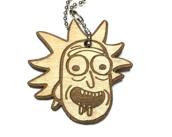 Personalized Keychain, Rick and Morty Inspired Keychain, Rick Sanchez Keychain, Personalized Valentines day gift, FREE SHIPPING