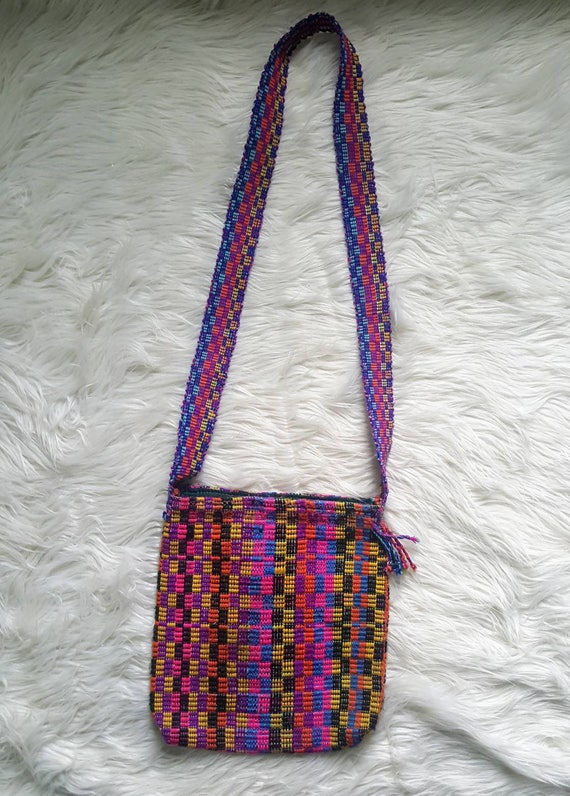 SALE Woven hippie pouch bag. Bright colored bohemian purse