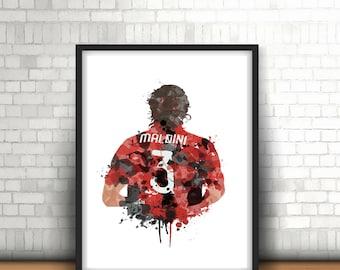 Paolo Maldini A.C. MIlan Digital Download Art Print, Football Art, Mancave Decor, Boys Room Decor,I Rossoneri  , Italian Footy Art Print