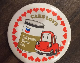 Cars Love Chevron Motor Oils pin