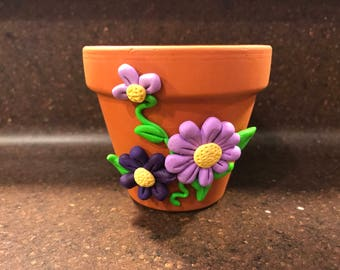 Terra Cotta Pot with Purple Flowers