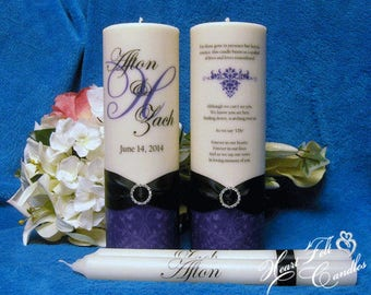 Unity Ceremony Set - Swirl Flourish Monogram Unity Candle Set - Wedding Memorial Candle - Unique Unity Set - Personalized Candles