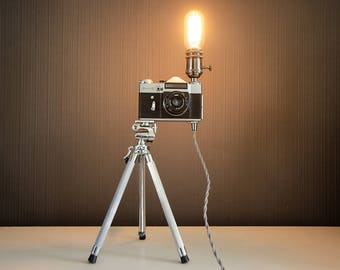 Upcycled Zenit E Camera Lamp - Upcycled Camera Lamp - Upcycled Zenit Camera - Edison Lamp - Steampunk Lamp - Upcycled Lamp
