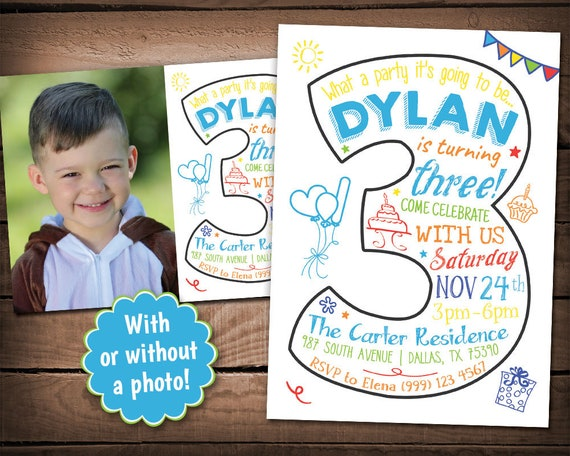 3rd birthday invitation third birthday party invitation third