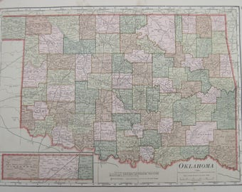 1914- Oklahoma Antique Map- Lovely 103 year old, vintage map of Oklahoma- Home Décor