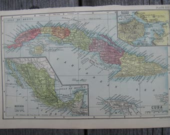1903-Cuba Vintage Map, Antique-Vintage Printing of Cuba- Home and Office Decor