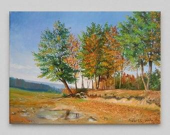 Landscape Oil painting Original painting Canvas art Custom painting landscape Autumn Realism Wall art Home decor Artwork Living room design
