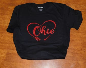 Ohio Shirt with red glitter