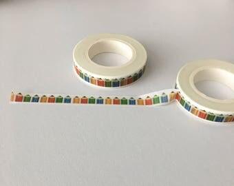 Pencil Washi Tape, Skinny Washi Tape, Pencil Skinny Washi, Rainbow Washi Tape, Skinny Rainbow Washi, Stationery Themed Washi Tape