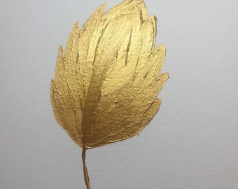 Golden Leaf ORIGINAL Acrylic Painting  Gold Leaf Painting, Gallery Wall Art, Gold Nature Painting