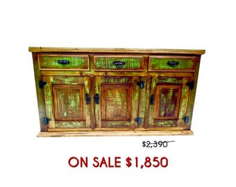 Antique Buffet Cabinet/Sideboard - Eco-Friendly Reclaimed Solid Wood