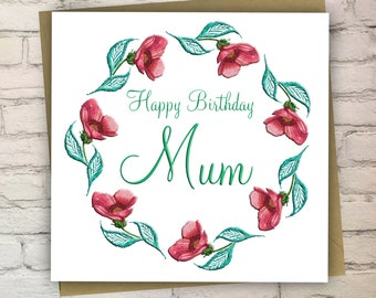 Birthday Card For Mum, Mother, Mammy, Aunt, Sister, Grandmother, Floral Card, Free UK Shipping