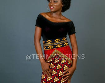 Red African pencil skirt, African print, African clothing for women, women clothing, Ankara skirt, pencil skirt, African fabric