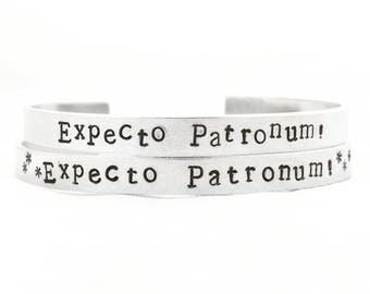 Expecto Patronum Bracelet. Harry Potter cuff. Spell bangle.